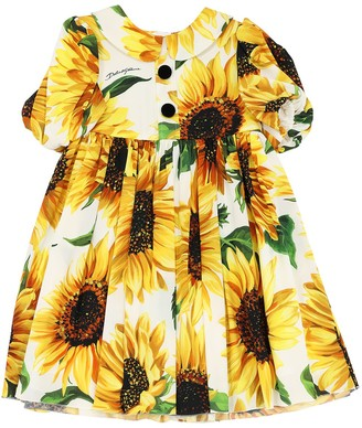Dolce & Gabbana Sunflower Print Silk Charmeuse Dress
