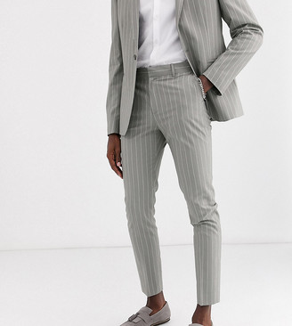 Asos DESIGN Tall skinny suit pants in soft gray pinstripe