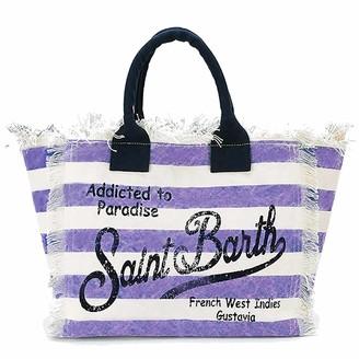 MC2 Saint Barth Canvas Beach Bag Lilac Striped