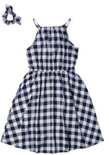 Epic Threads Big Girls High Neck Challis Dress with Matching Scrunchie