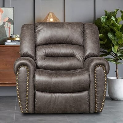"""Thumbnail for your product : Red Barrel Studio Alisander 42"""" Wide Power Standard Recliner Fabric: Gray Microfiber"""