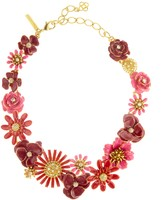 Oscar de la Renta Small Painted Floral Necklace