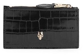 Alexander McQueen Small Skull Croc-Embossed Leather Zip Card Case
