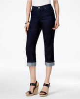 JM Collection Petite Embellished-Cuff Capri Jeans, Only at Macy's