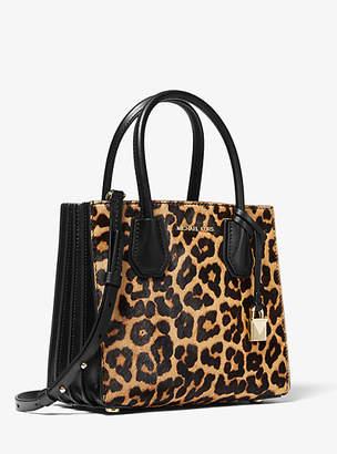 Michael Kors Mercer Medium Leopard Calf Hair Accordion Crossbody Bag