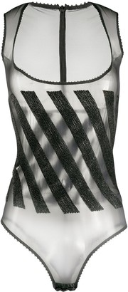 Gianfranco Ferré Pre-Owned 1990s Diagonal Stripe Bodysuit