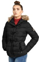 Thumbnail for your product : Brave Soul Ladies Wizard Padded Jacket Black/Brown Trim - UK 16