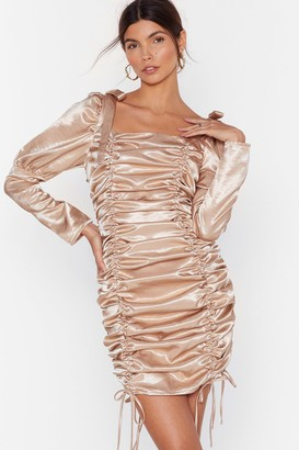 Nasty Gal Womens Blame It on the Ruche Satin Mini Dress - Champagne