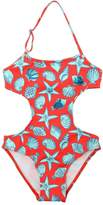 Shells Print Lycra One Piece Swimsuit