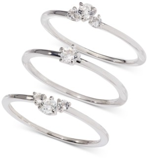 AVA NADRI Silver-Tone 3-Pc. Set Crystal Rings
