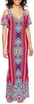 MSK Short Sleeve Cold Shoulder Scroll Maxi Dress