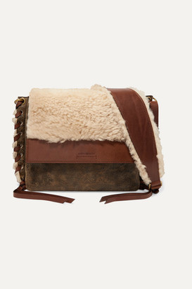 Isabel Marant Fleyn Shearling And Leather Shoulder Bag - Brown