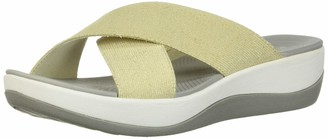 Clarks Women's Arla Elin Slide Sandal Aqua Elastic Fabric 120 M US