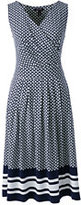 Lands' End Women's Tall Fit and Flare Dress-Radiant Navy Geo Border