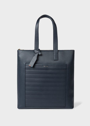 Navy Striped Emboss Leather Tote Bag