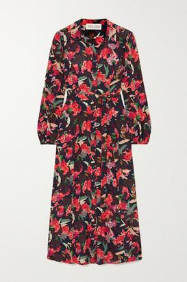 Saloni Vanessa-b Floral-print Silk Crepe De Chine Shirt Dress - Red