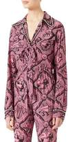 Gucci Romain Printed Silk Shirt, Pink/Black