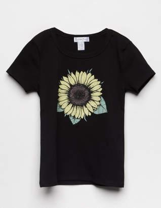 White Fawn Sunflower Rib Girls Tee