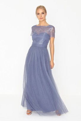 Little Mistress Bridesmaid Grey Lace Overlay Maxi Dress