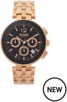 Versus Versace Black And Rose Gold Dial Rose Gold Link And Mesh Stainless Steel Bracelet Mens Watch