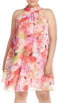 Eliza J Floral Chiffon Double Layer Trapeze Dress (Plus Size)