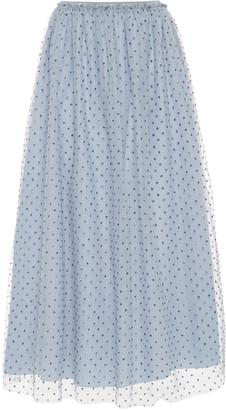 RED Valentino Polka-Dot Flocked Tulle Midi Skirt