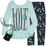 Knitworks Knit Works Legging Set with High Low Stud Top and Purse - Girls 7-16 and Plus
