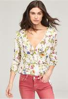 Milly Floral Print Ruffle Wrap Top