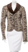 Valentino Mink-Trimmed Wool Cardigan