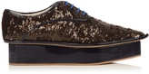 DELPOZO Sequin flatform derby shoes