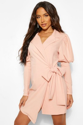 boohoo Puff Sleeve Wrap Blazer Dress