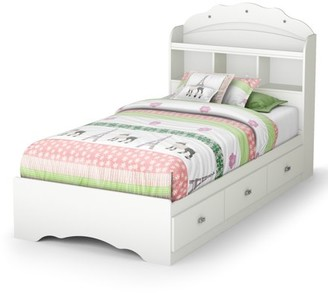 South Shore Tiara Mates Bed, Twin, White, Drawers, Bookcase Headboard