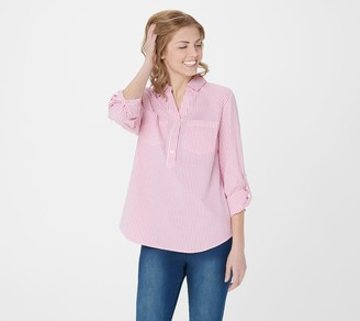 Denim & Co. Seersucker Pull-Over Top with Roll Tab Sleeve