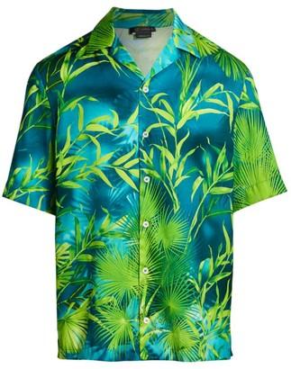 Versace Jungle-Print Short-Sleeve Shirt