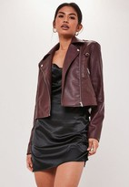 Missguided Wine Ultimate Boxy Faux Leather Biker Jacket