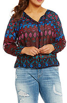 Lucky Brand Plus Long Sleeve Vibrant Print Woven Top