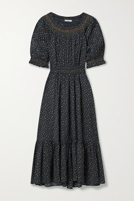 DÔEN Isidore Belted Ruched Floral-print Organic Cotton-blend Voile Midi Dress - Midnight blue
