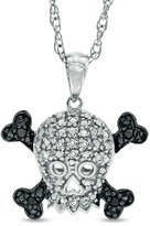Zales Enhanced Black and White Diamond Accent Skull with Crossbones Pendant in Sterling Silver