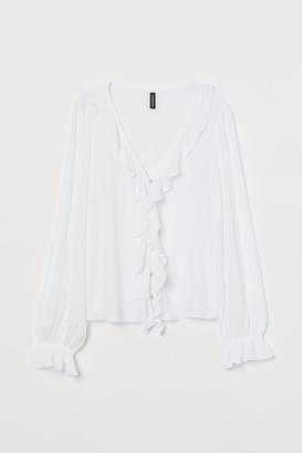 H&M Flounced V-neck Blouse - White