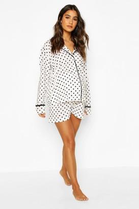 boohoo Maternity Polka Dot Pipe Detail Short Pajama Set