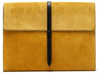 Smythson Suede And Leather Document Holder - Mens - Yellow