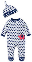 Offspring Baby's Heart Print Footie and Hat Set