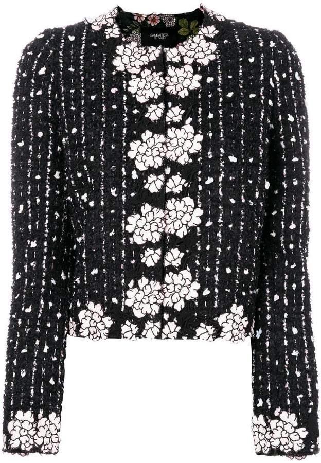 Giambattista Valli boucle flower trim jacket
