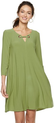 Nina Leonard Women's Embellished Keyhole Swing Dress