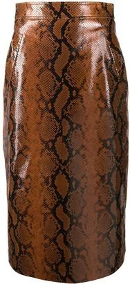 DSQUARED2 snakeskin effect skirt