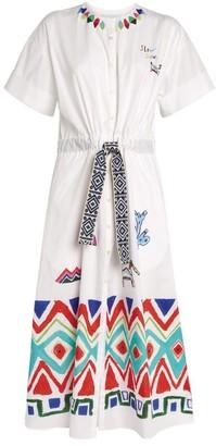 Mira Mikati Sketch Embroidered Drawstring Dress