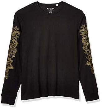 GUESS Men's Long Sleeve Skull Floral Crew T-Shirt