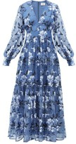 Erdem Tabetha Floral-embroidered Silk-organza Gown - Womens - Blue