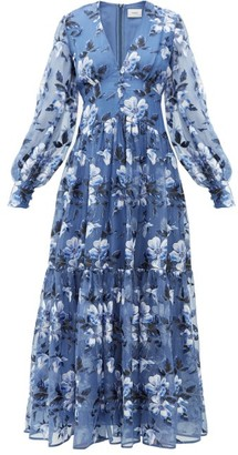 Erdem Tabetha Floral-embroidered Silk-organza Gown - Blue