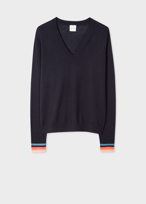 Paul Smith Women's Dark Navy V-Neck Merino Wool Sweater With 'Artist Stripe' Cuffs